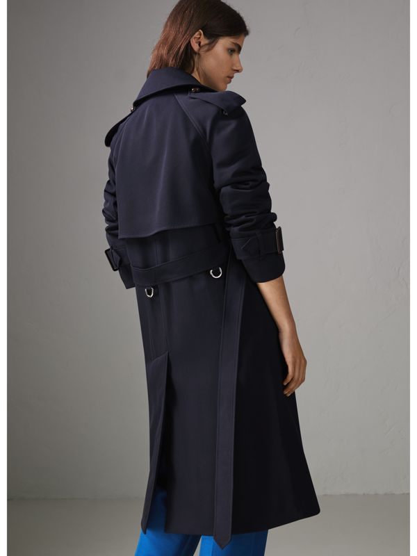 Oversized Lapel Wool Gabardine Trench Coat in Navy - Women | Burberry - cell image 2