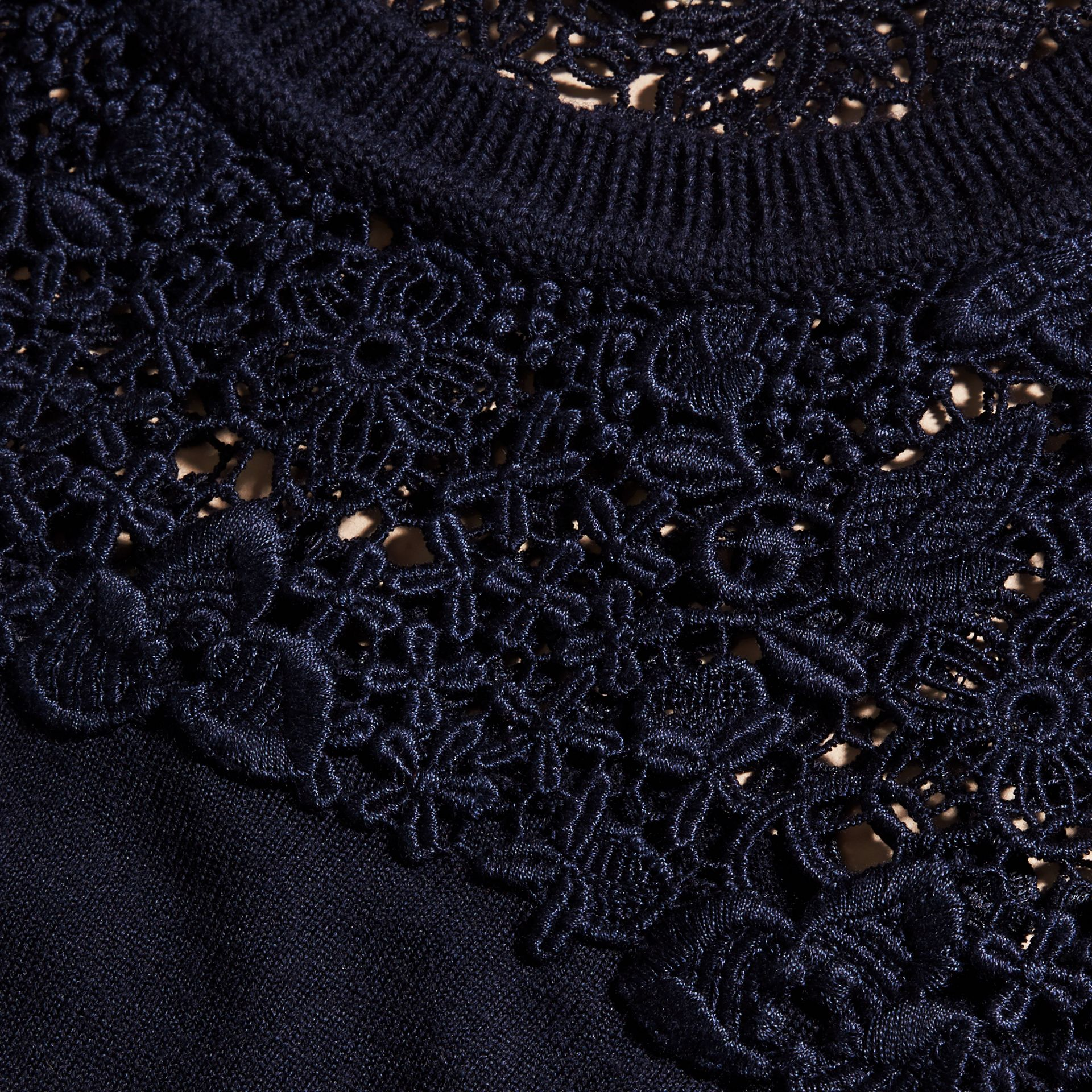 Navy Lace Yoke Merino Wool Sweater Navy - gallery image 2