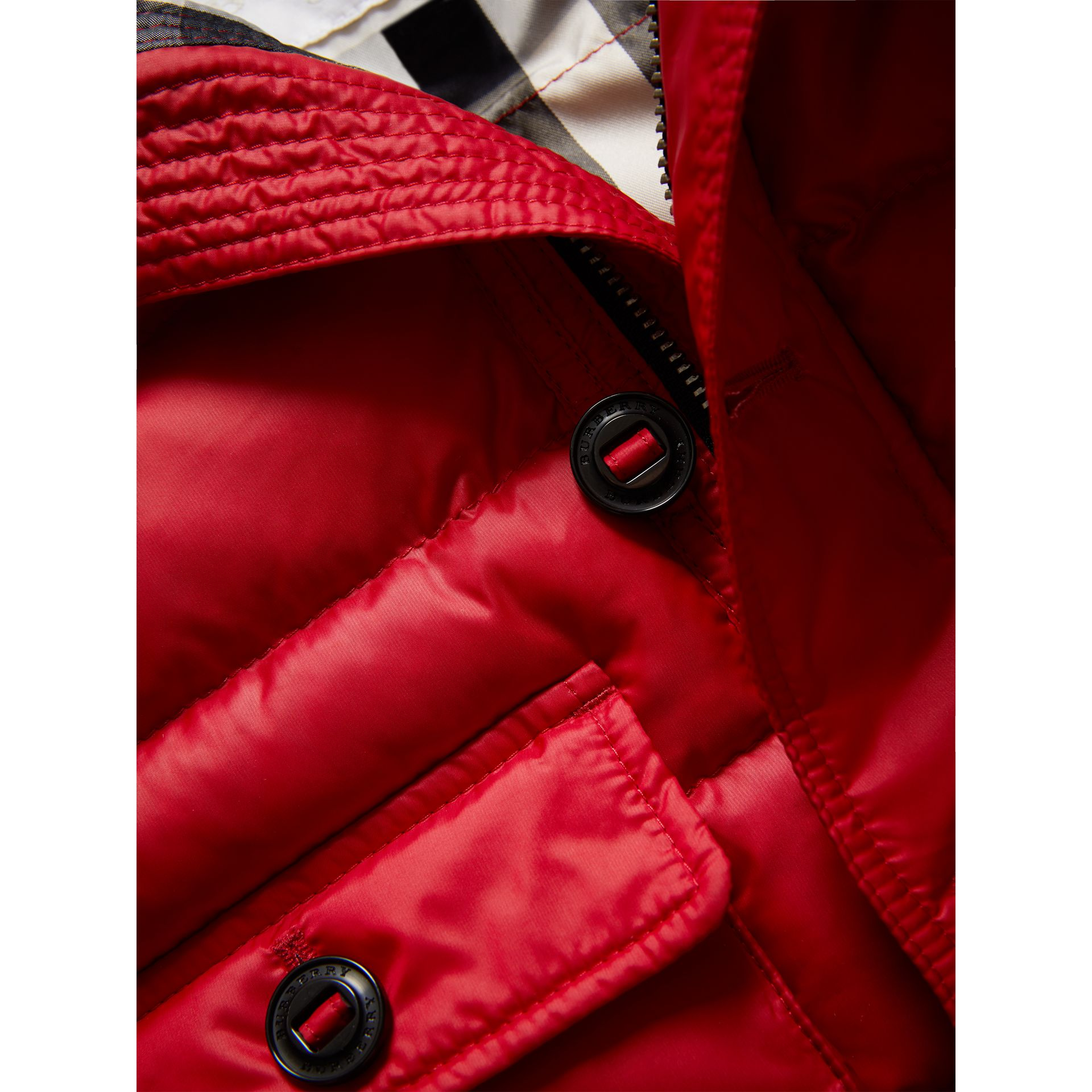 Shower-resistant Hooded Puffer Jacket in Parade Red | Burberry Canada - gallery image 1