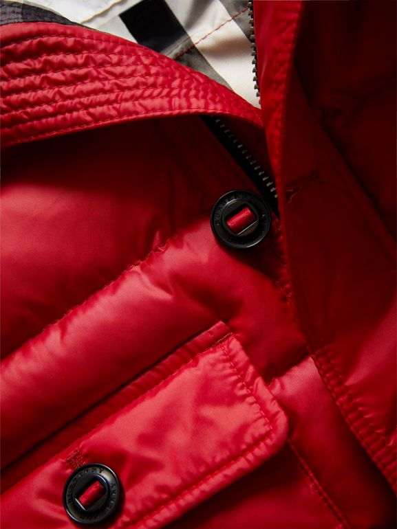 Shower-resistant Hooded Puffer Jacket in Parade Red | Burberry Canada - cell image 1