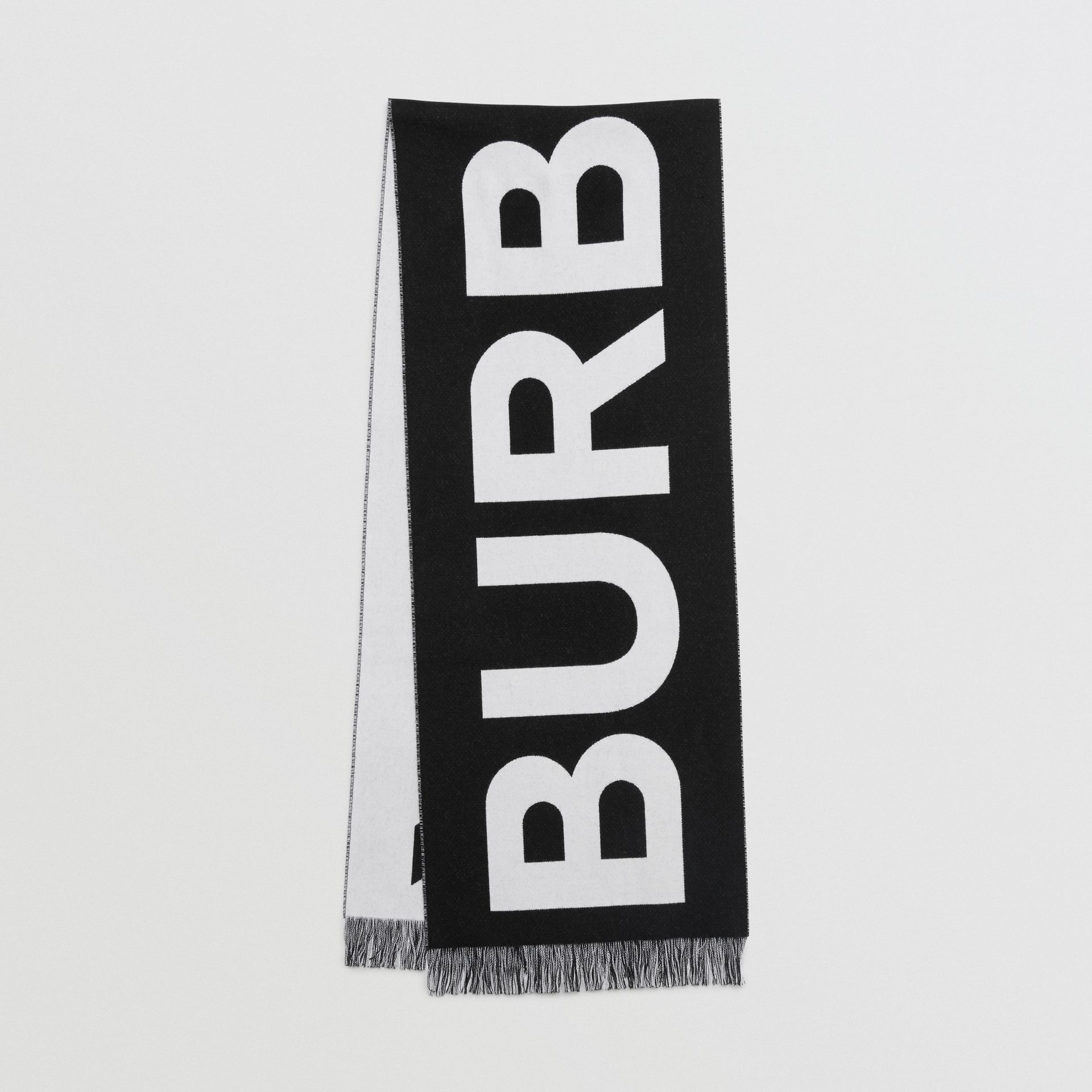 Logo Wool Scarf in Black/white | Burberry Australia - gallery image 0