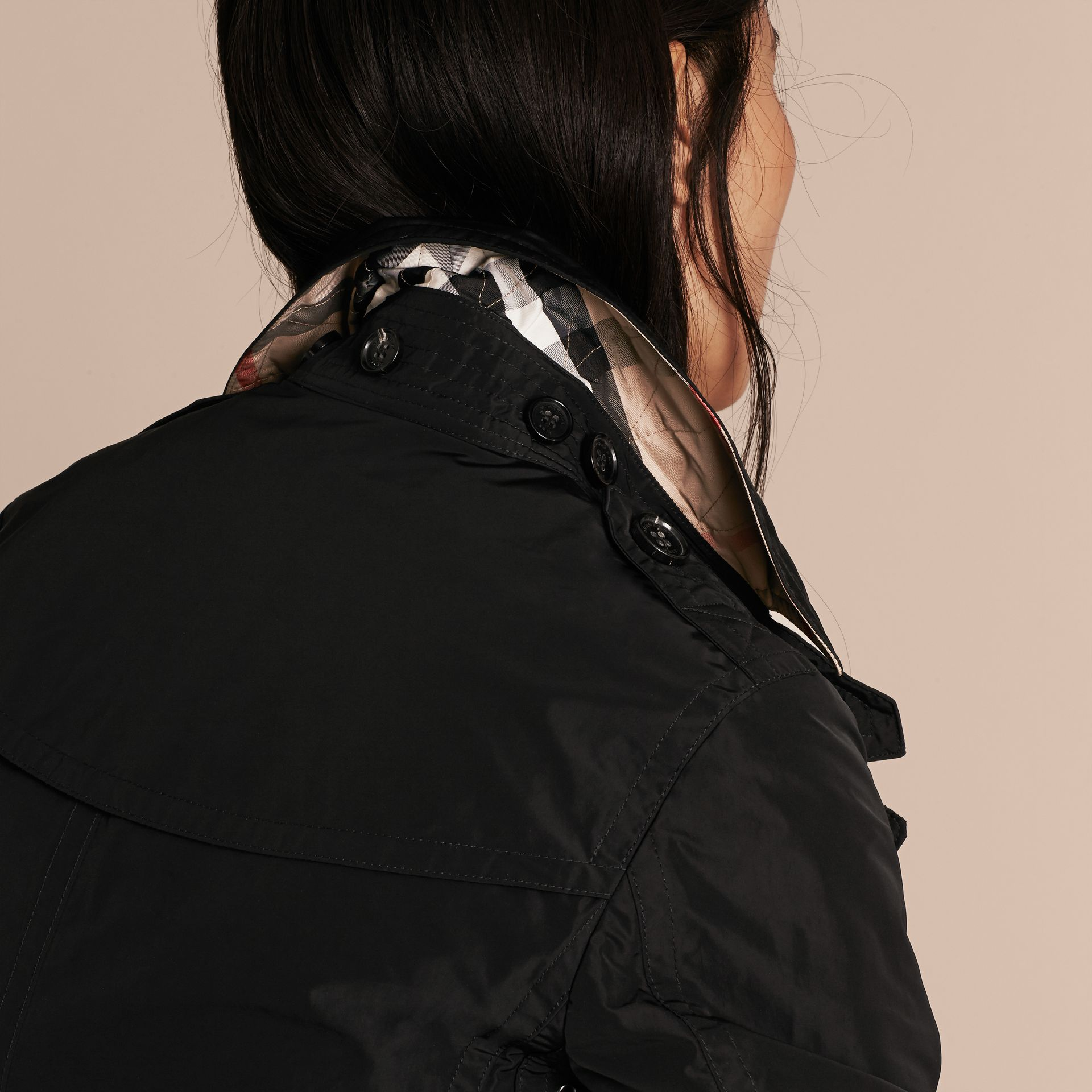 Black Taffeta Trench Coat with Detachable Hood Black - gallery image 5