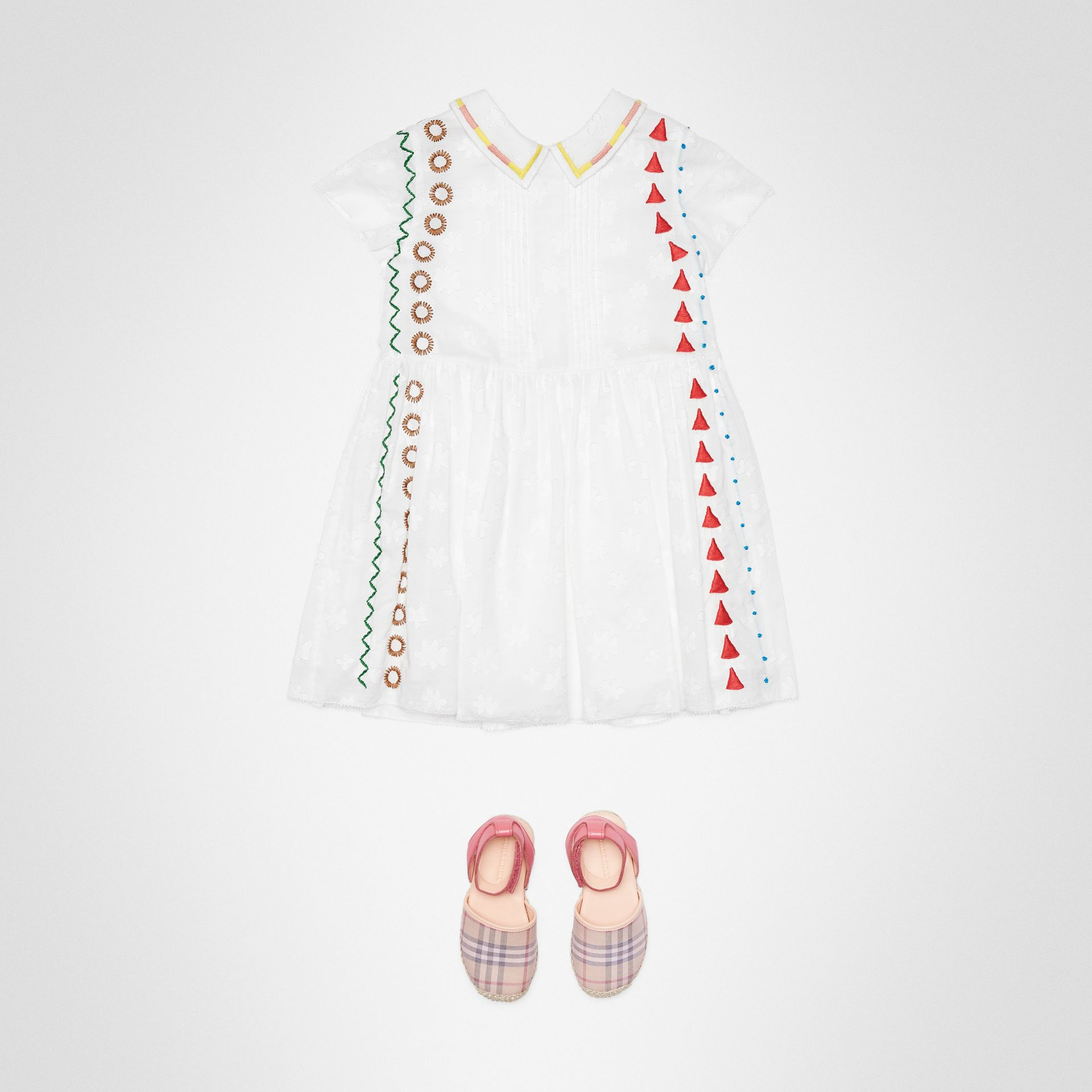 Peter Pan Collar Embroidered Cotton Dress in White | Burberry - gallery image 2