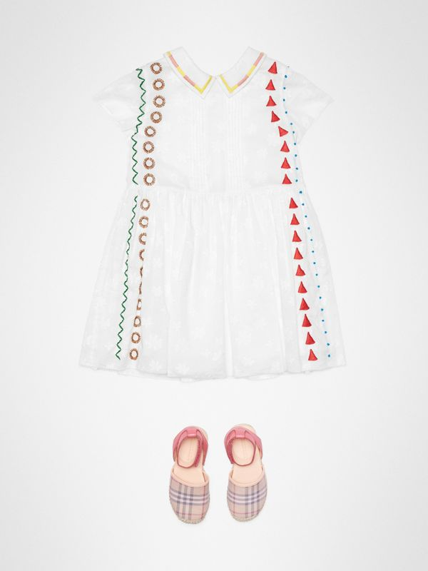 Peter Pan Collar Embroidered Cotton Dress in White | Burberry United States - cell image 2