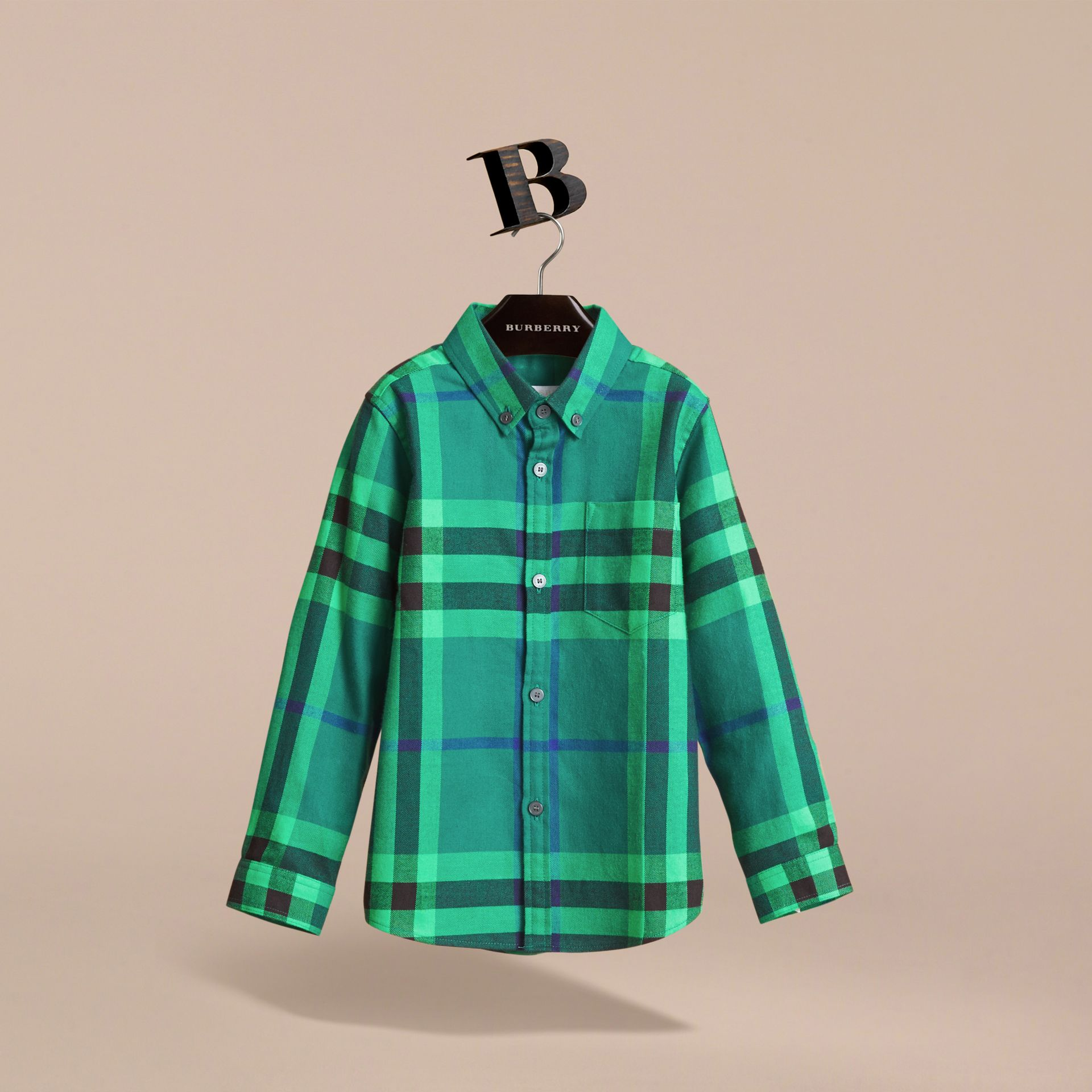 Check Cotton Flannel Button-Down Shirt in Pigment Green - Boy | Burberry - gallery image 1