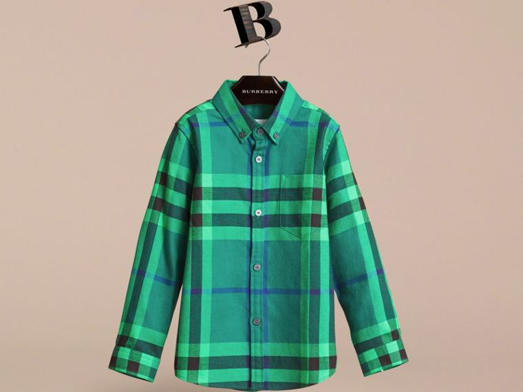 Check Cotton Flannel Button-Down Shirt in Pigment Green - Boy | Burberry - cell image 1