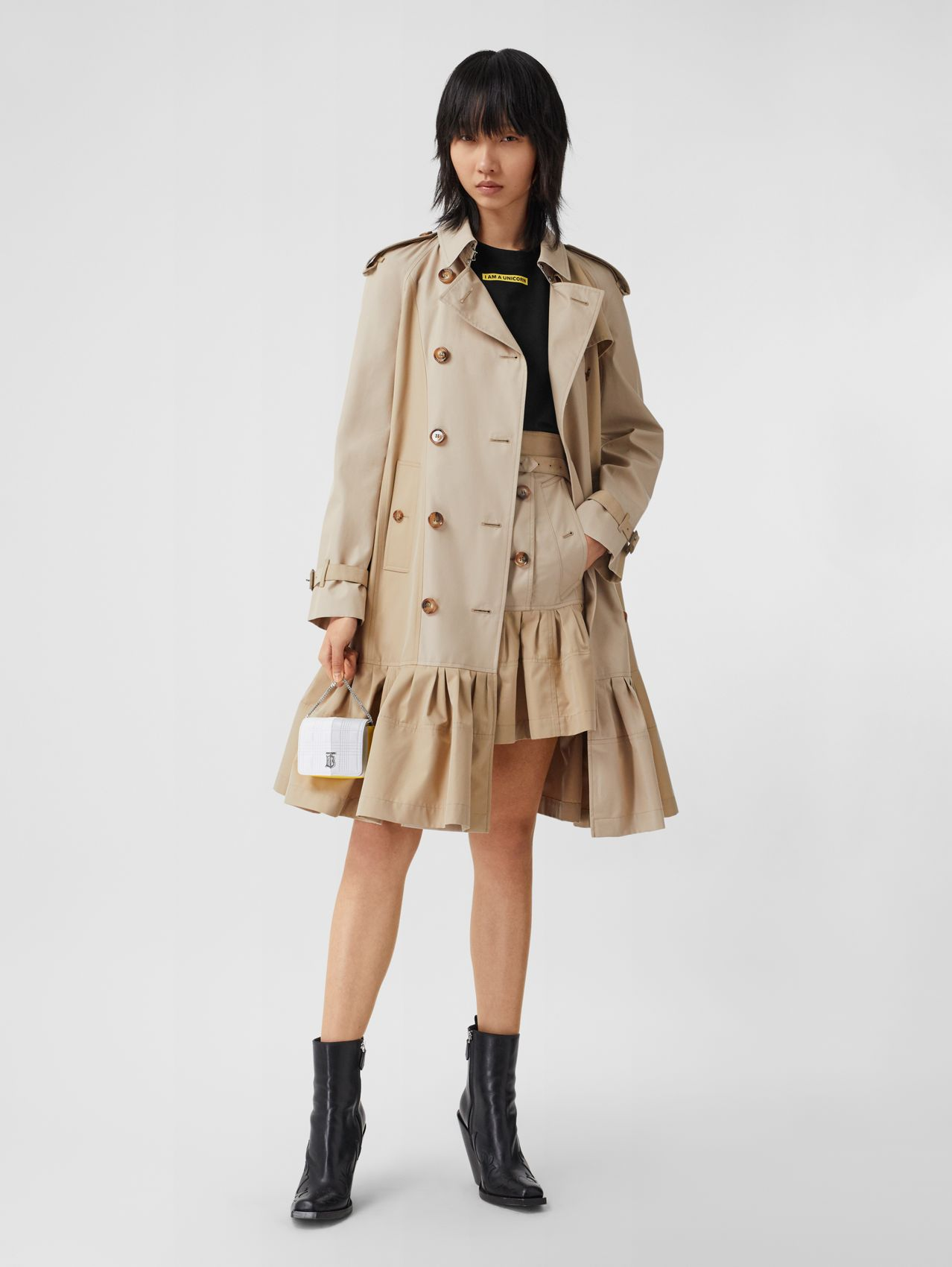 Gathered Detail Cotton Gabardine Trench Coat (Light Sand)