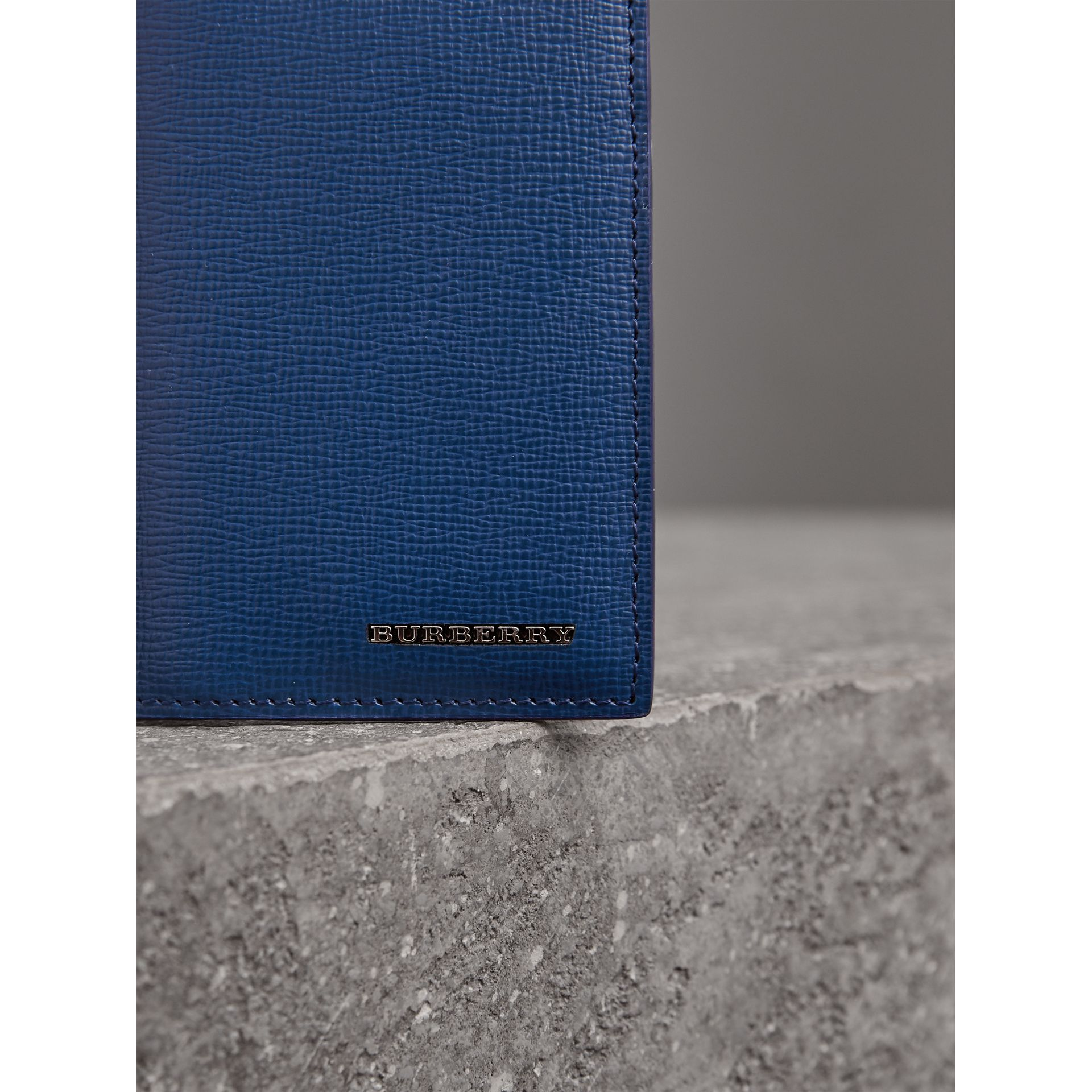 London Leather Folding Card Case in Deep Blue | Burberry - gallery image 1