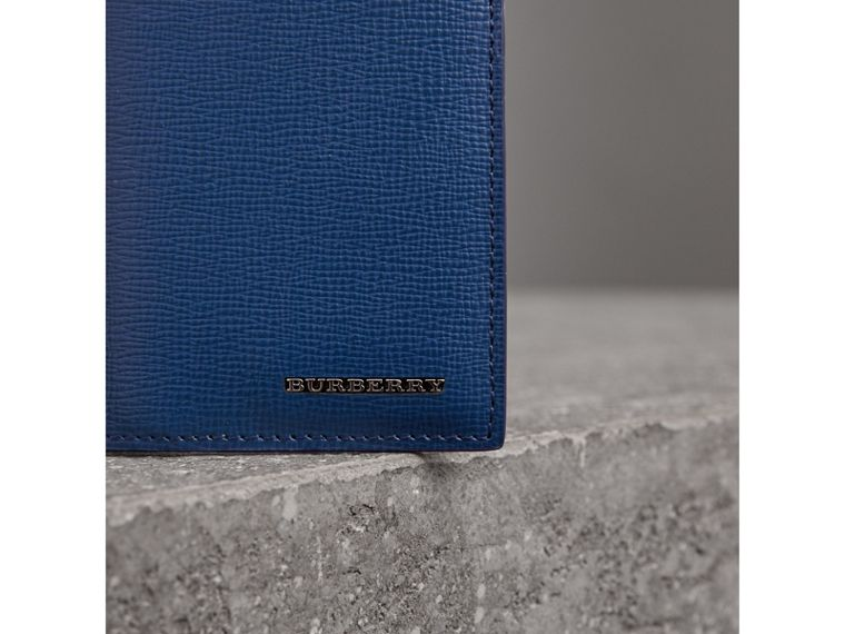 London Leather Folding Card Case in Deep Blue - Men | Burberry - cell image 1