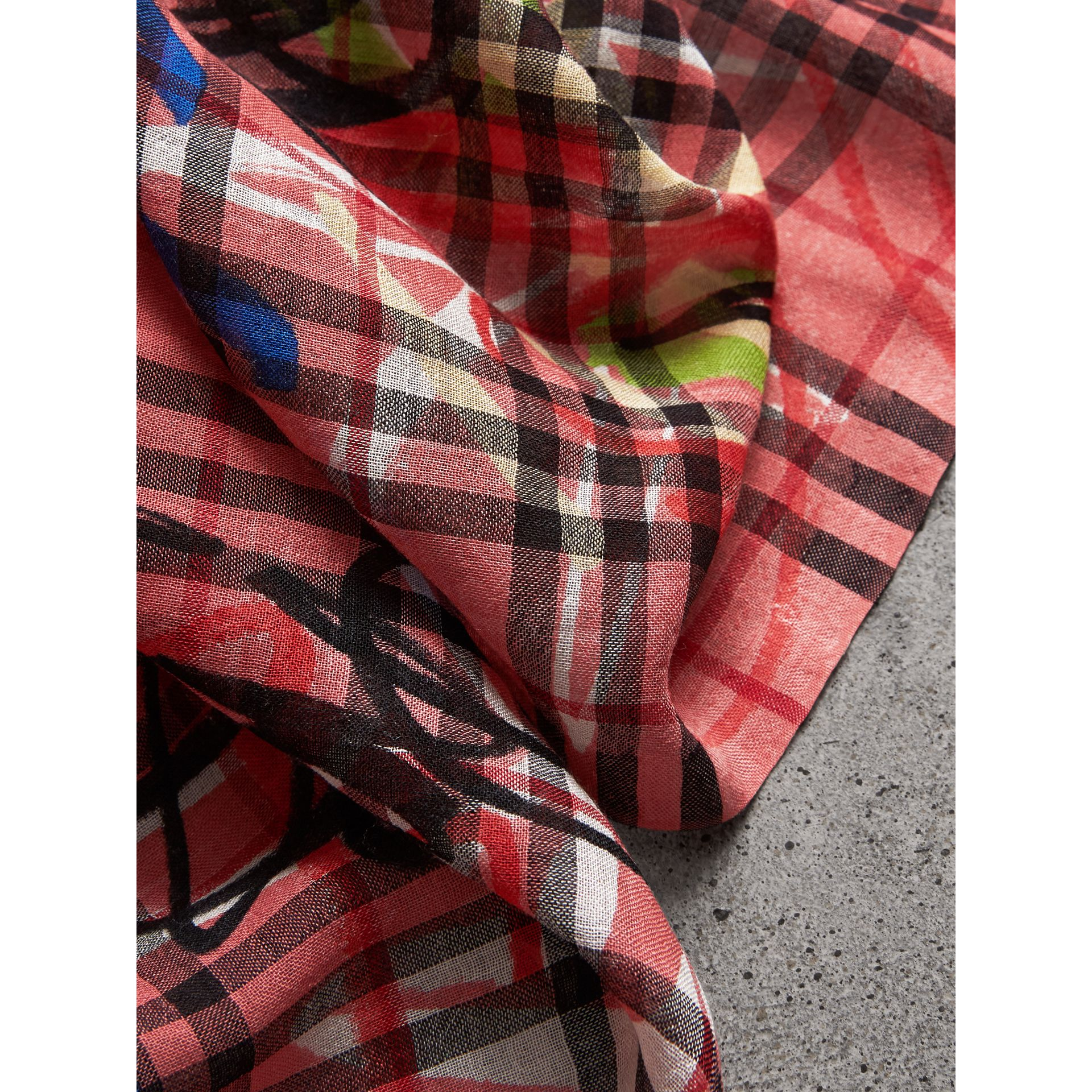 Graffiti Print Vintage Check Wool Silk Scarf in Blossom Pink | Burberry - gallery image 1
