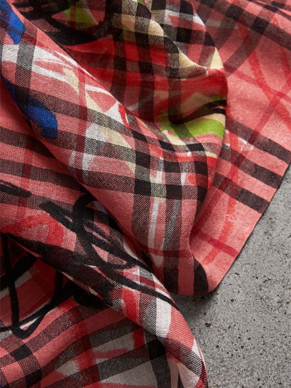 Graffiti Print Vintage Check Wool Silk Scarf in Blossom Pink | Burberry - cell image 1