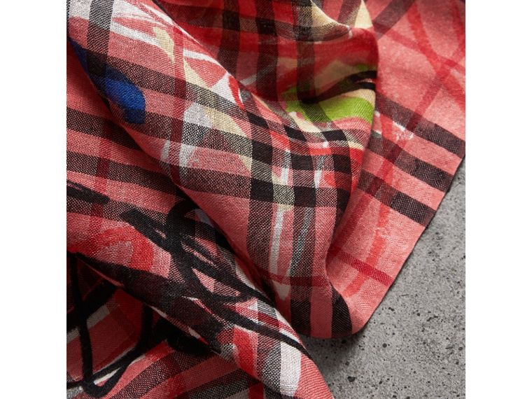 Graffiti Print Vintage Check Wool Silk Scarf in Blossom Pink | Burberry Hong Kong - cell image 1