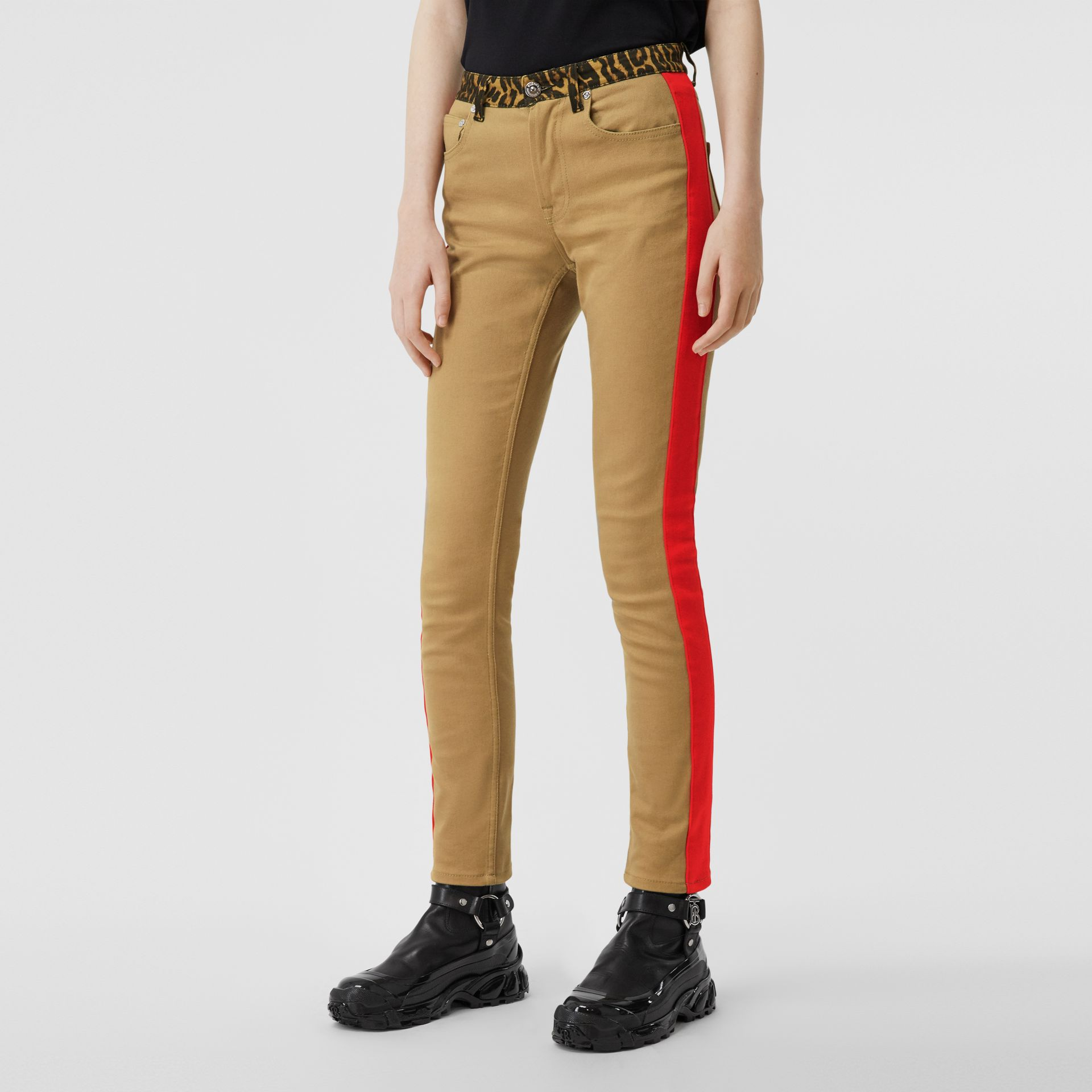 Skinny Fit Leopard Print Trim Japanese Denim Jeans in Rich Olive - Women | Burberry - gallery image 4