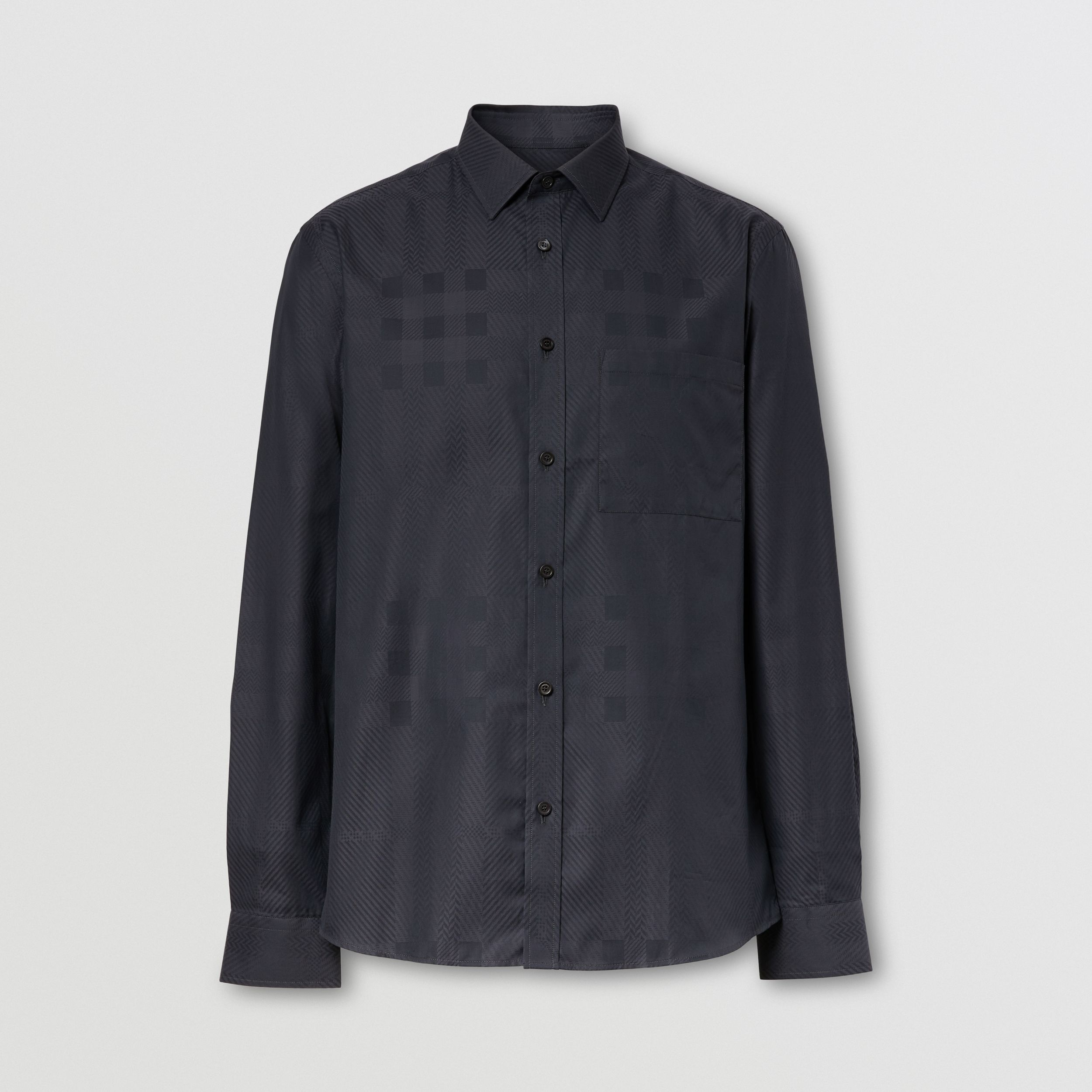 Slim Fit Check Cotton Jacquard Shirt in Charcoal - Men | Burberry - 4