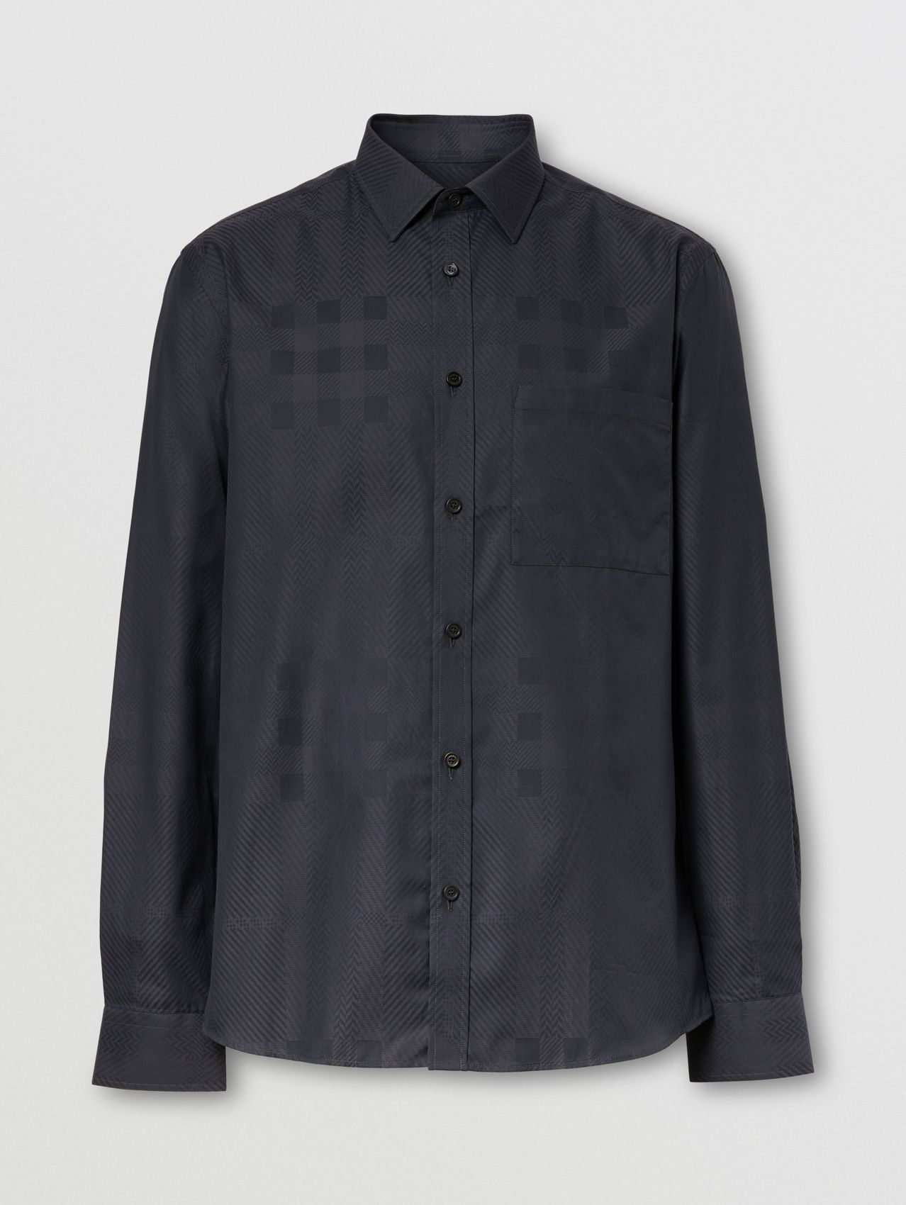 Slim Fit Check Cotton Jacquard Shirt in Charcoal