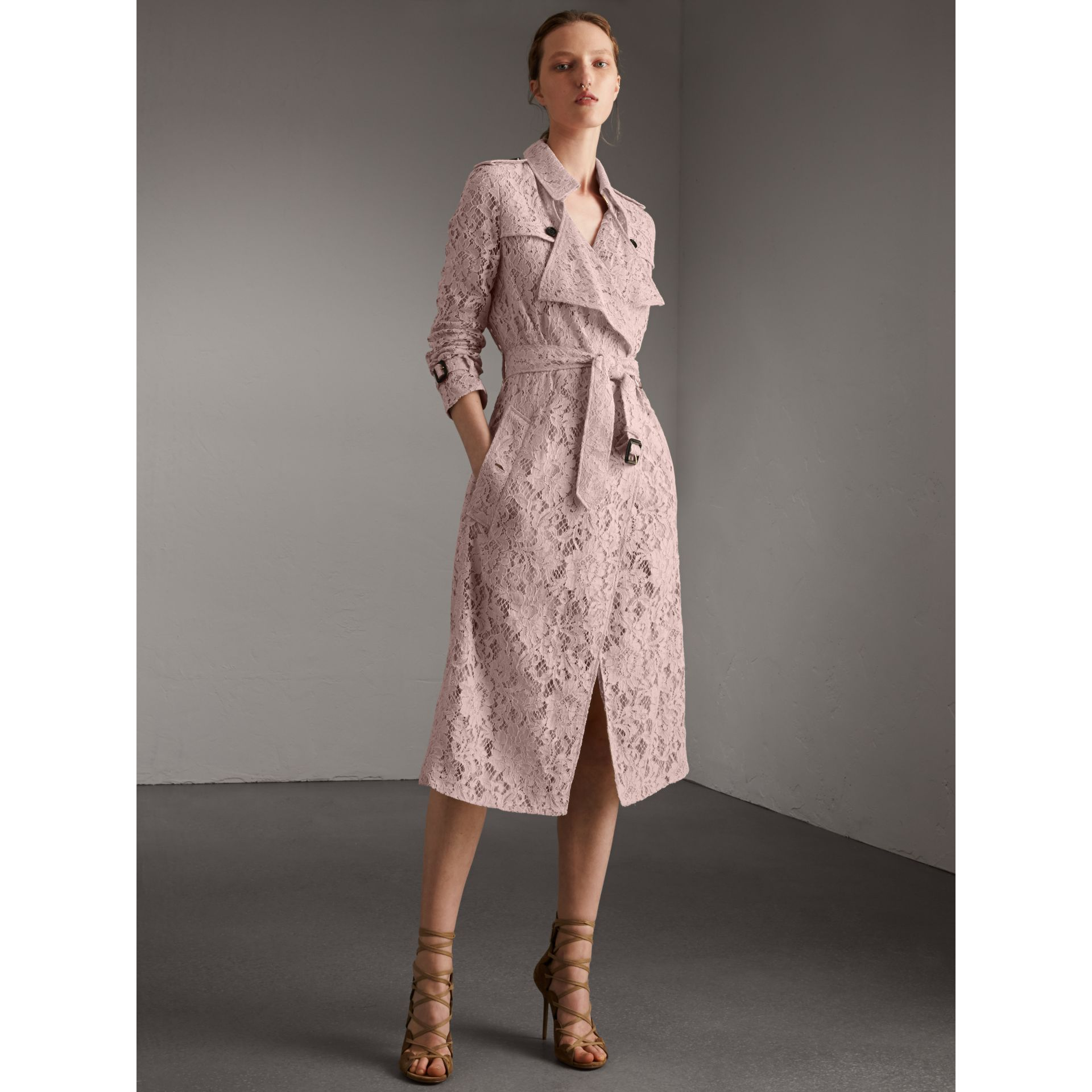 Macramé Lace Wrap Trench Coat in Nude - Women | Burberry - gallery image 1