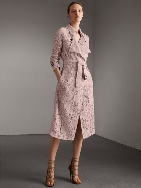 Macramé Lace Wrap Trench Coat in Nude