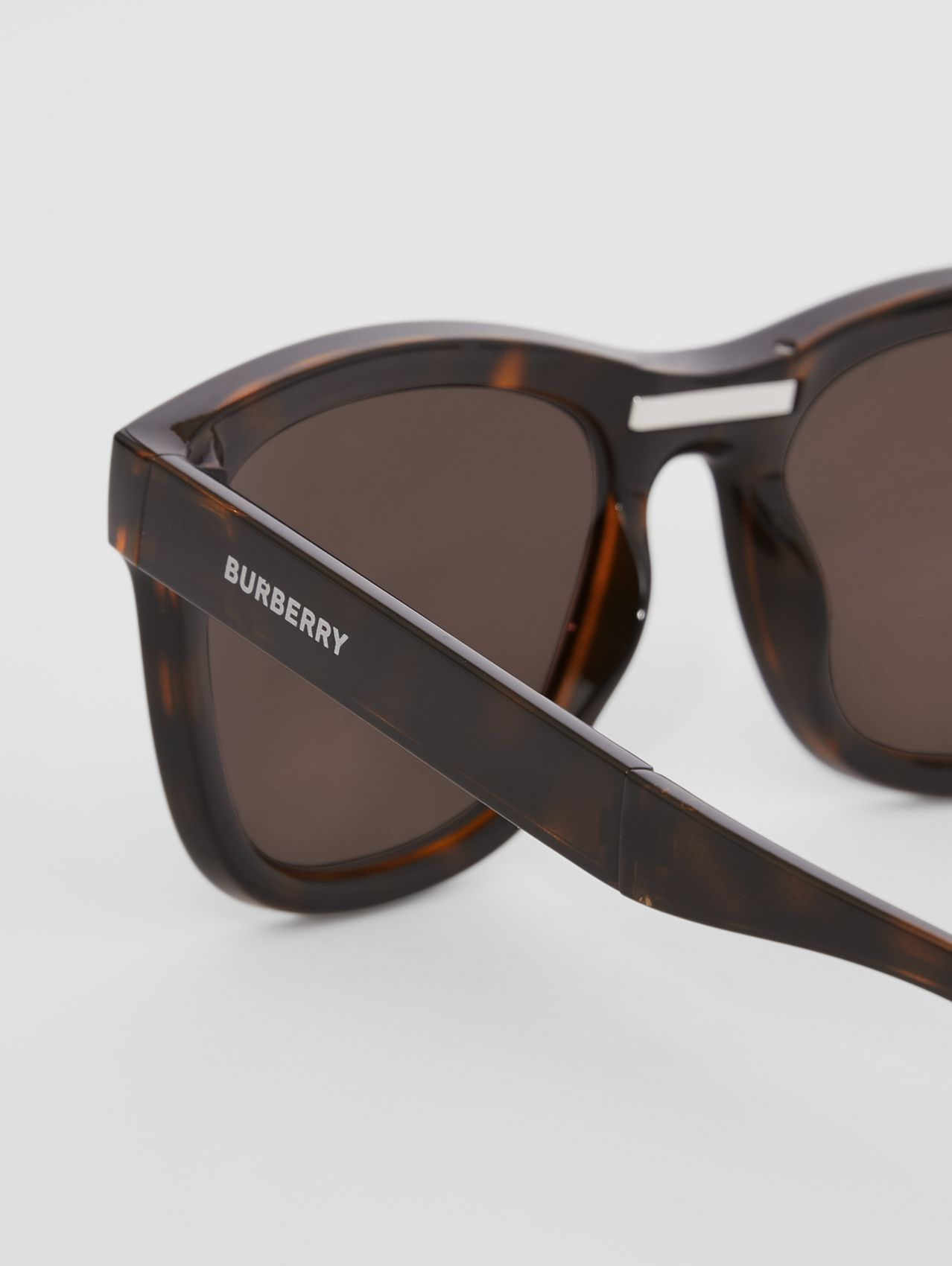 Logo Detail Square Frame Foldable Sunglasses in Tortoiseshell