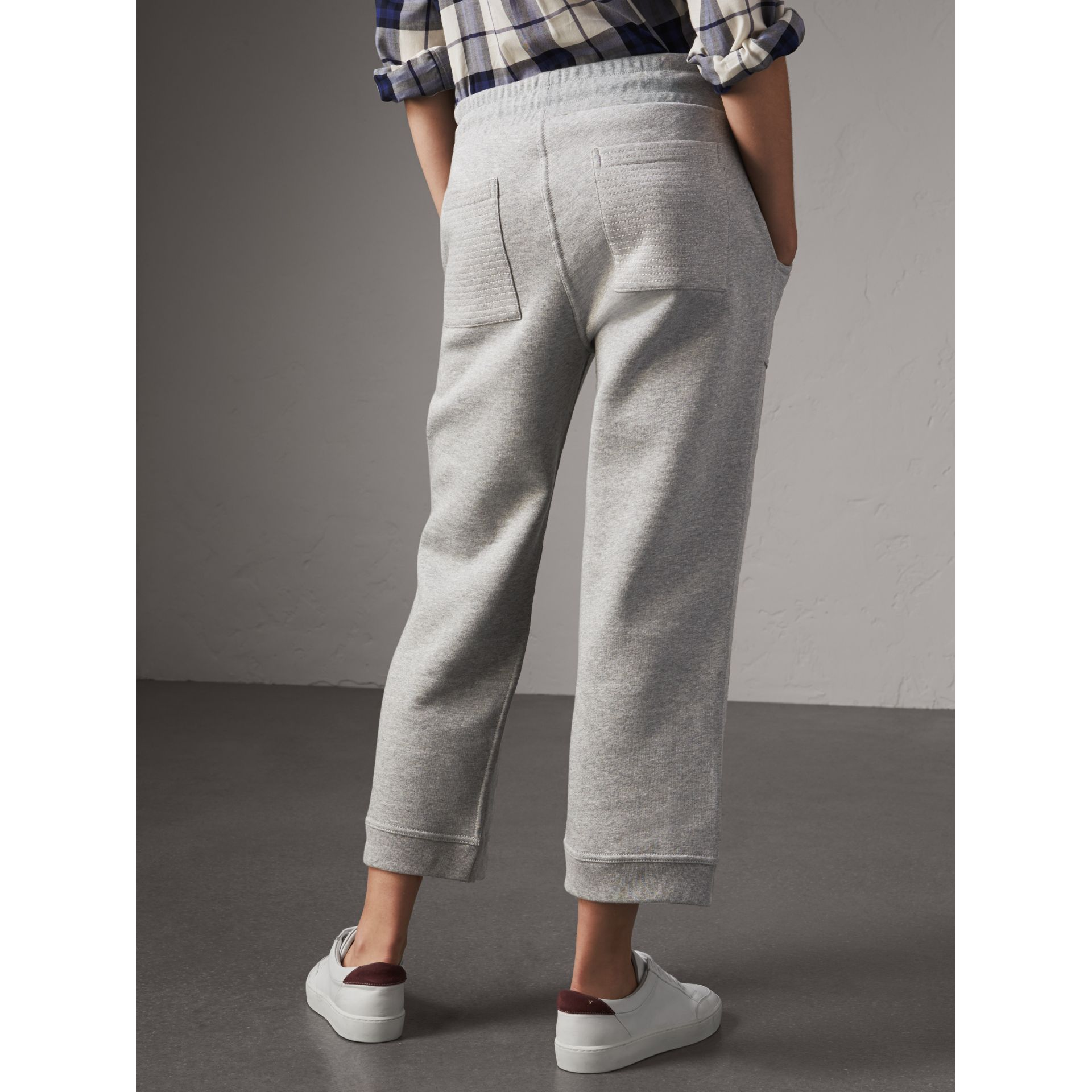 Cropped Jersey Sweatpants in Pale Grey Melange - Women | Burberry United Kingdom - gallery image 3