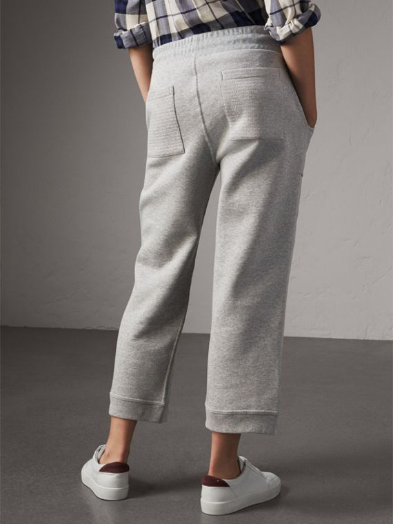 Cropped Jersey Sweatpants in Pale Grey Melange - Women | Burberry United Kingdom - cell image 2