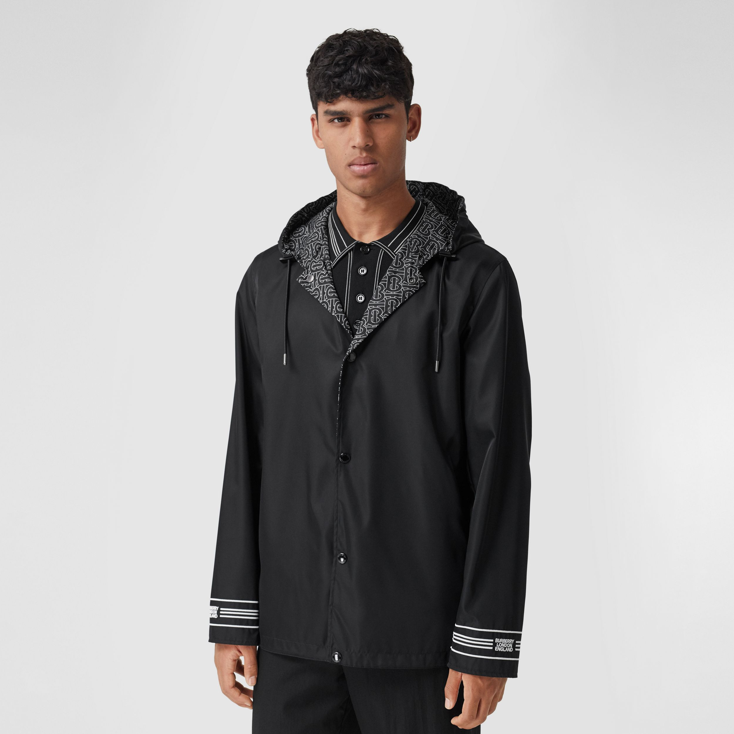 Reversible Monogram Print ECONYL® Hooded Jacket in Black/white - Men | Burberry Canada - 1