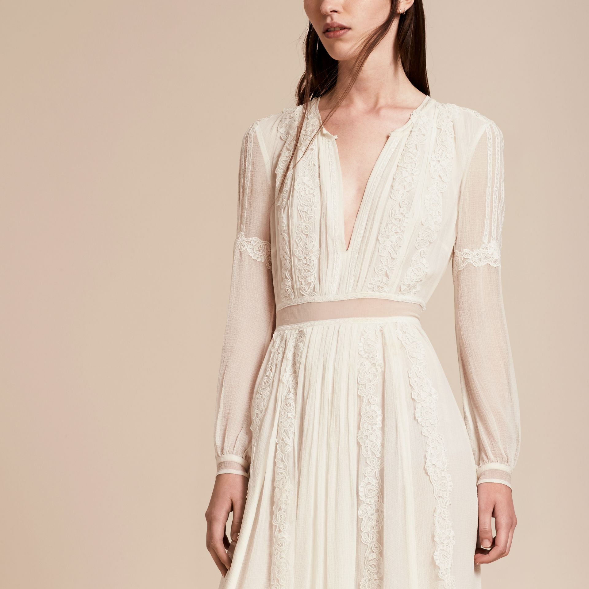 Lace Detail Silk Crepon Floor-length Dress in White - Women | Burberry - gallery image 5