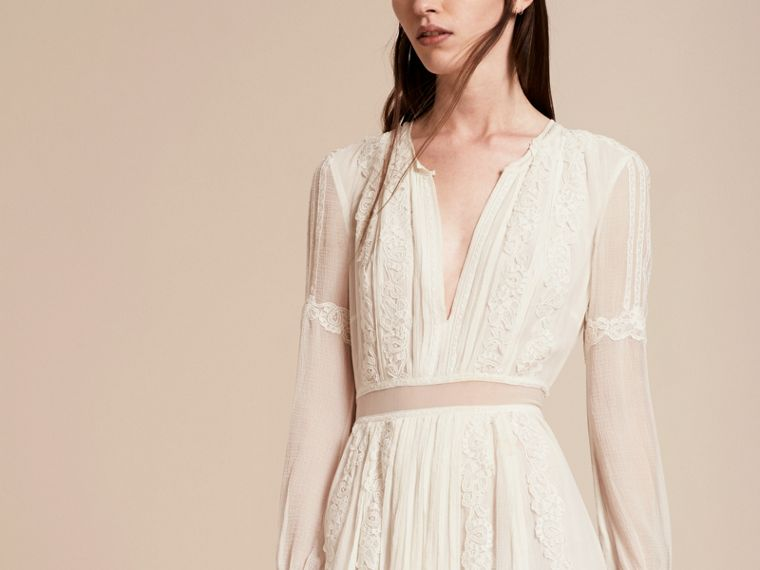 Lace Detail Silk Crepon Floor-length Dress in White - Women | Burberry - cell image 4