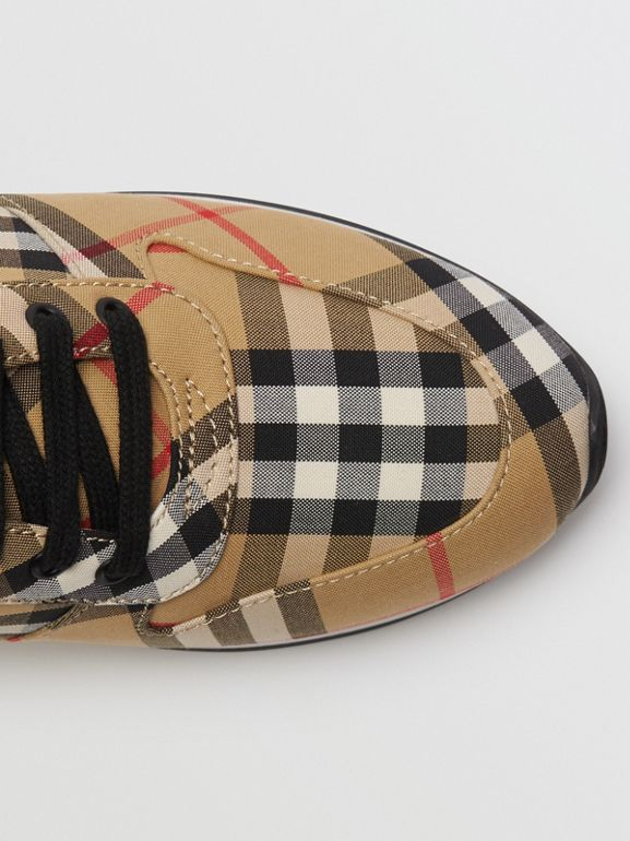 Vintage Check Cotton Sneakers in Antique Yellow - Women | Burberry - cell image 1