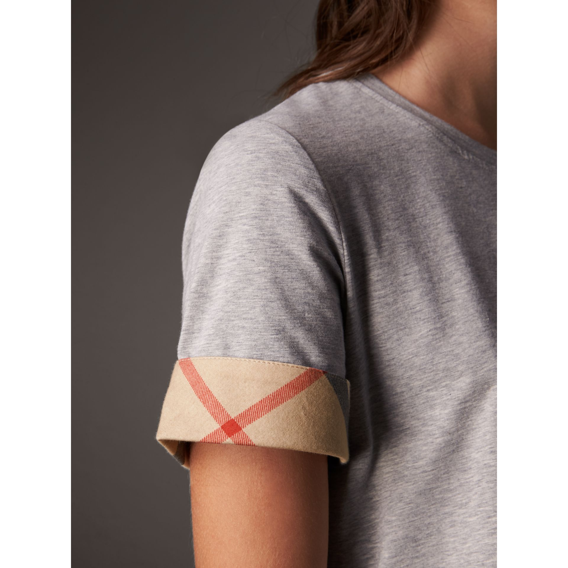 Check Cuff Stretch Cotton T-Shirt in Pale Grey Melange - Women | Burberry - gallery image 5