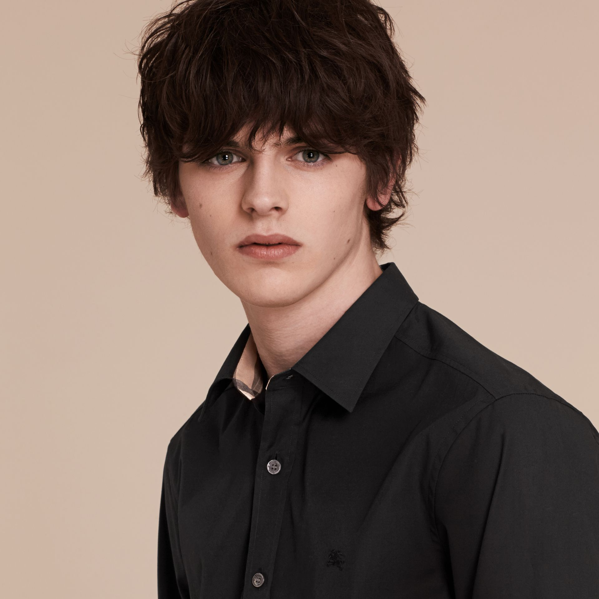Check Detail Stretch Cotton Poplin Shirt in Black - gallery image 5