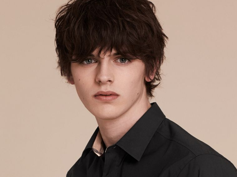 Check Detail Stretch Cotton Poplin Shirt in Black - Men | Burberry - cell image 4
