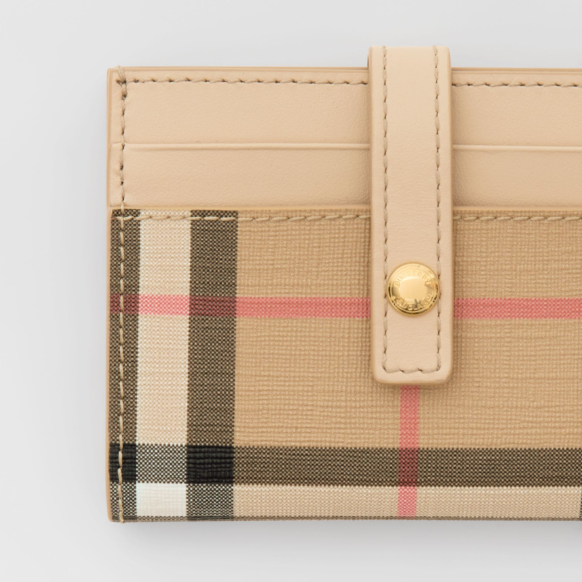 Vintage Check E-canvas Folding Card Case in Beige - Women | Burberry United Kingdom - gallery image 1