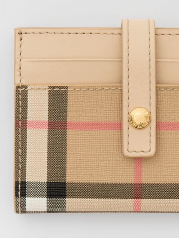 Vintage Check E-canvas Folding Card Case in Beige - Women | Burberry United Kingdom - cell image 1