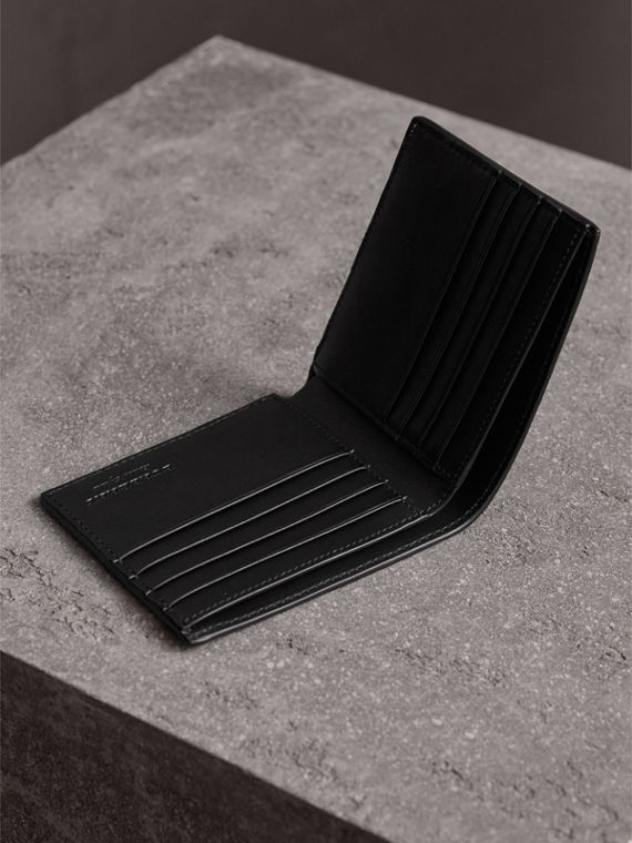 Embossed Leather Bifold Wallet in Black - Men | Burberry - cell image 3