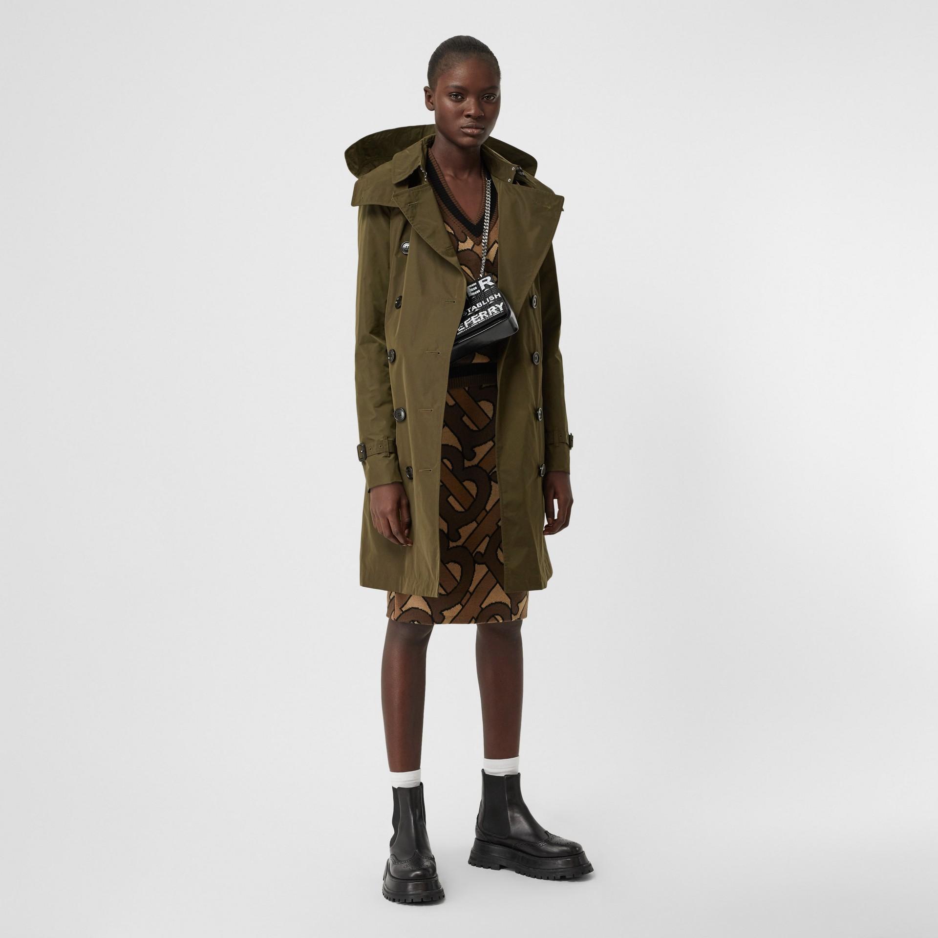 Detachable Hood Shape-memory Taffeta Trench Coat in Khaki - Women   Burberry United Kingdom - gallery image 0