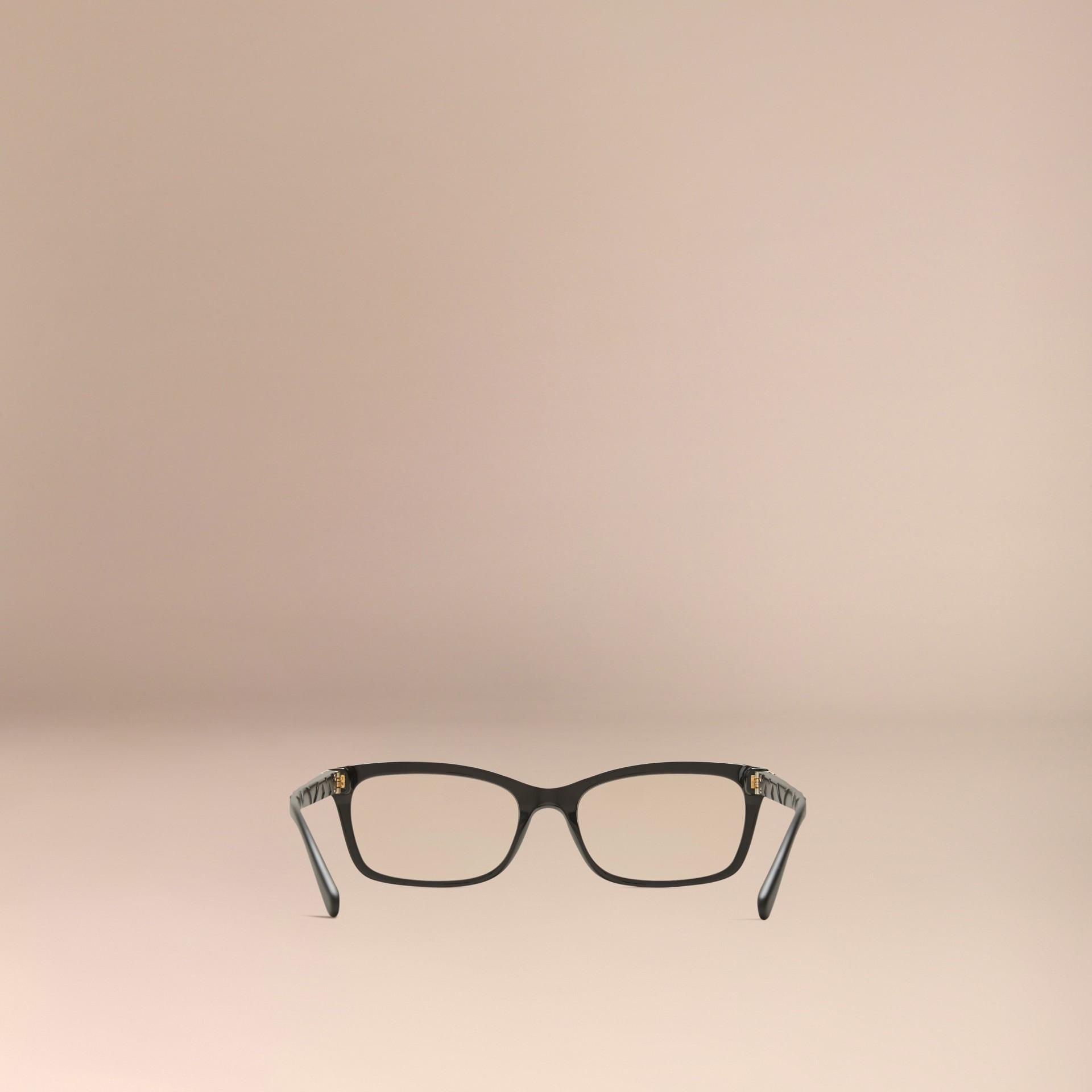 Noir Monture rectangulaire pour lunettes de vue avec détails check Noir - photo de la galerie 4