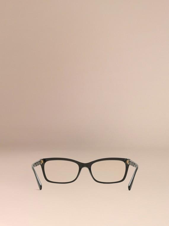 Noir Monture rectangulaire pour lunettes de vue avec détails check Noir - cell image 3