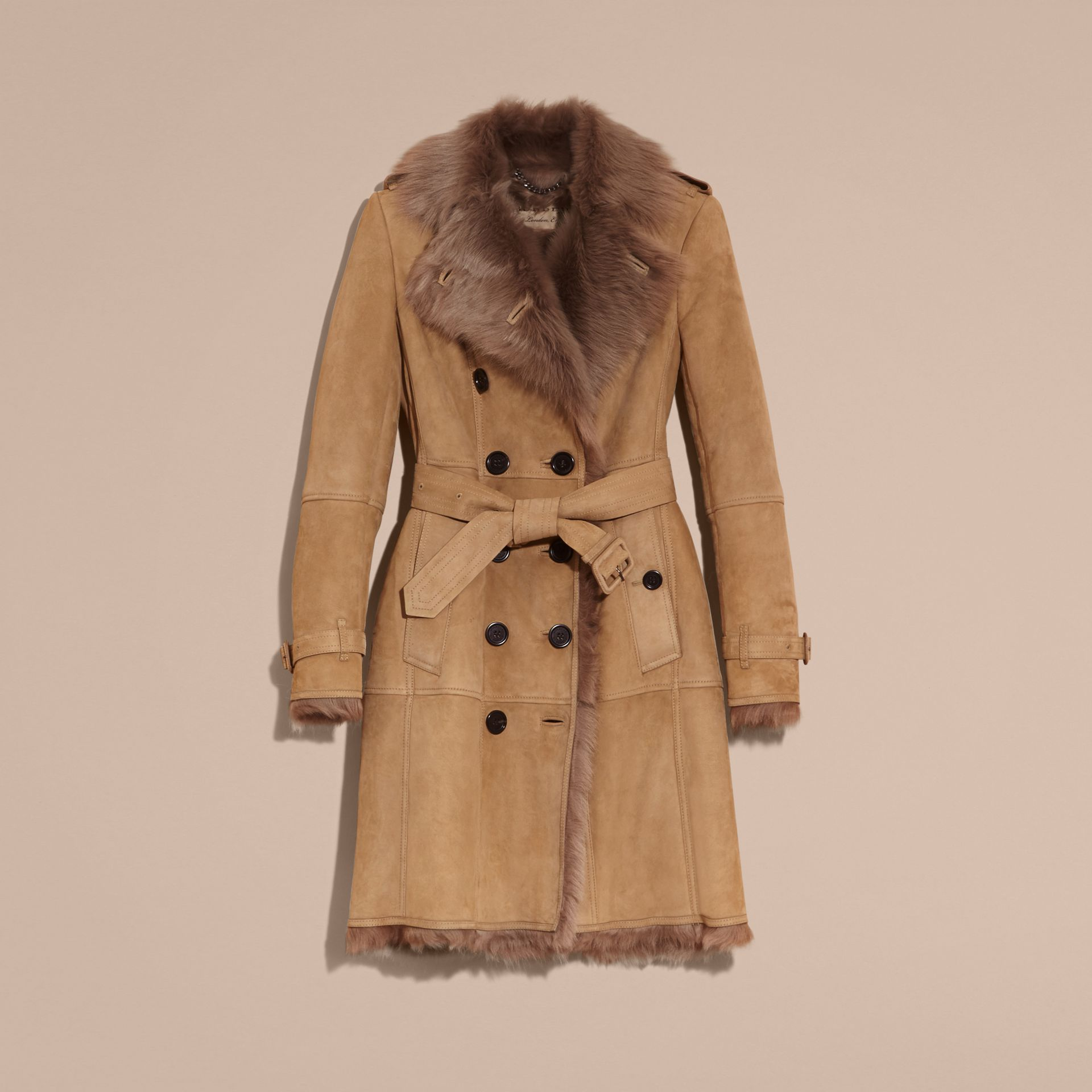 Camel Shearling Trench Coat - gallery image 4