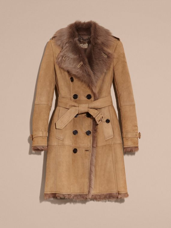 Camel Shearling Trench Coat - cell image 3