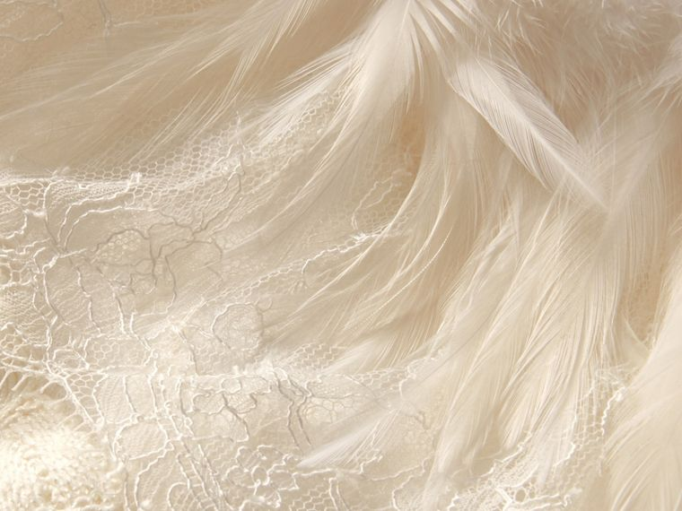 Feather Collar Detail Layered Lace Capelet in White - Women | Burberry Singapore - cell image 1