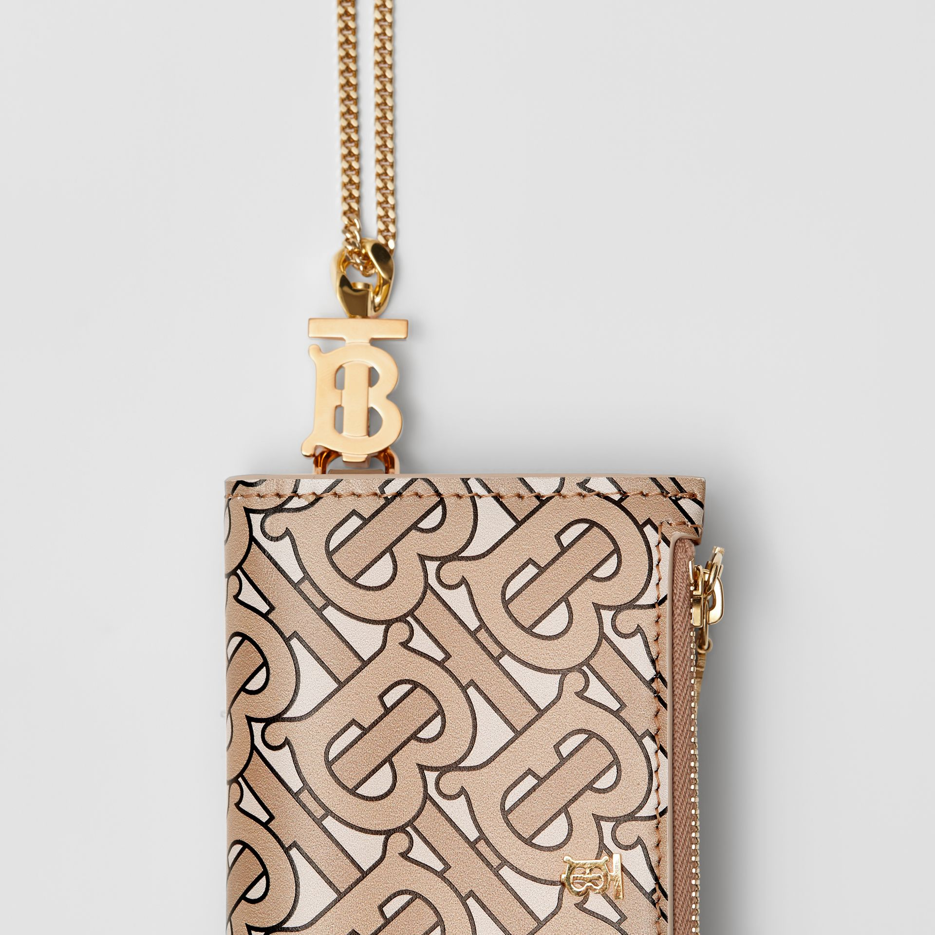 Monogram Motif Leather Wallet with Detachable Strap in Beige - Women | Burberry Australia - gallery image 1