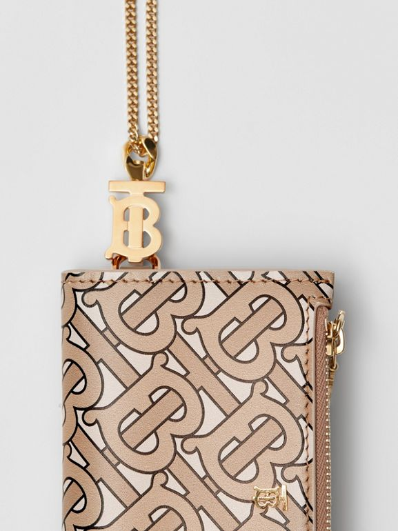Monogram Motif Leather Wallet with Detachable Strap in Beige - Women | Burberry - cell image 1