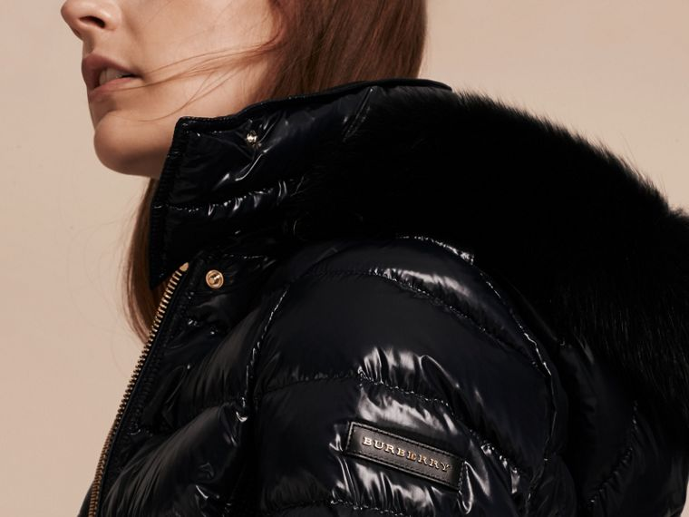 Down-Filled Coat with Detachable Fur-trimmed Hood in Navy - cell image 4