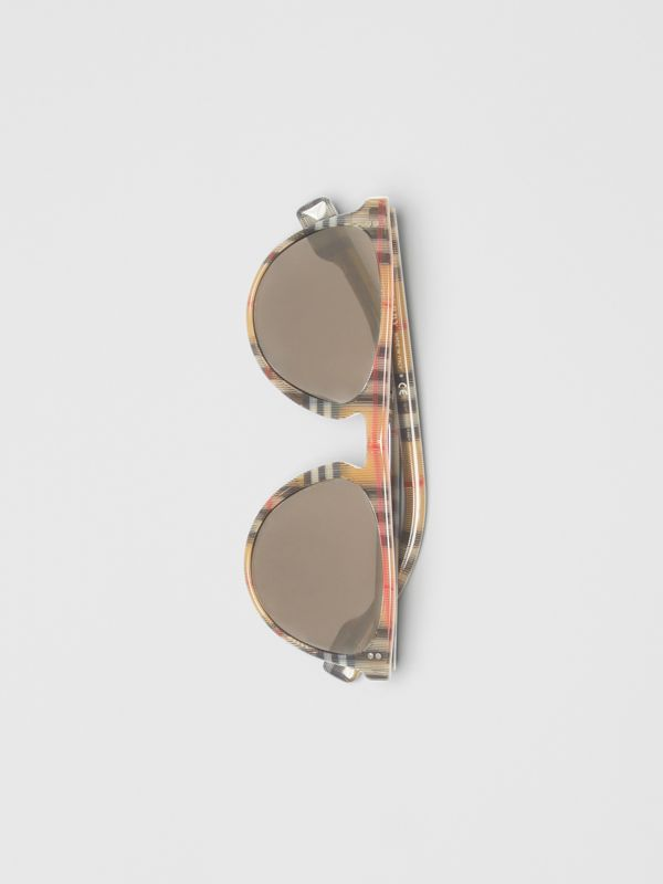 Vintage Check Keyhole D-shaped Sunglasses in Antique Yellow - Men | Burberry United Kingdom - cell image 3