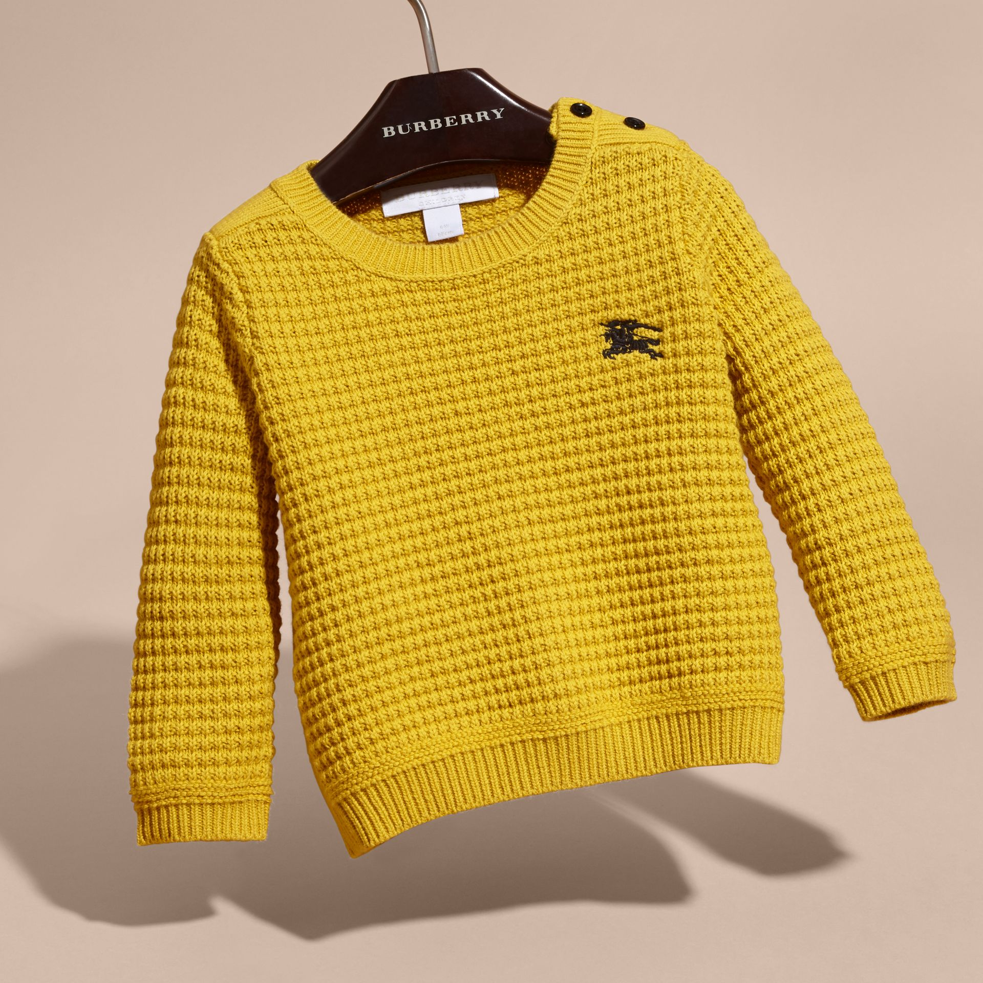 Waffle Knit Cotton Sweater in Bright Yellow - gallery image 3