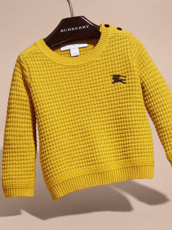 Waffle Knit Cotton Sweater in Bright Yellow - cell image 2