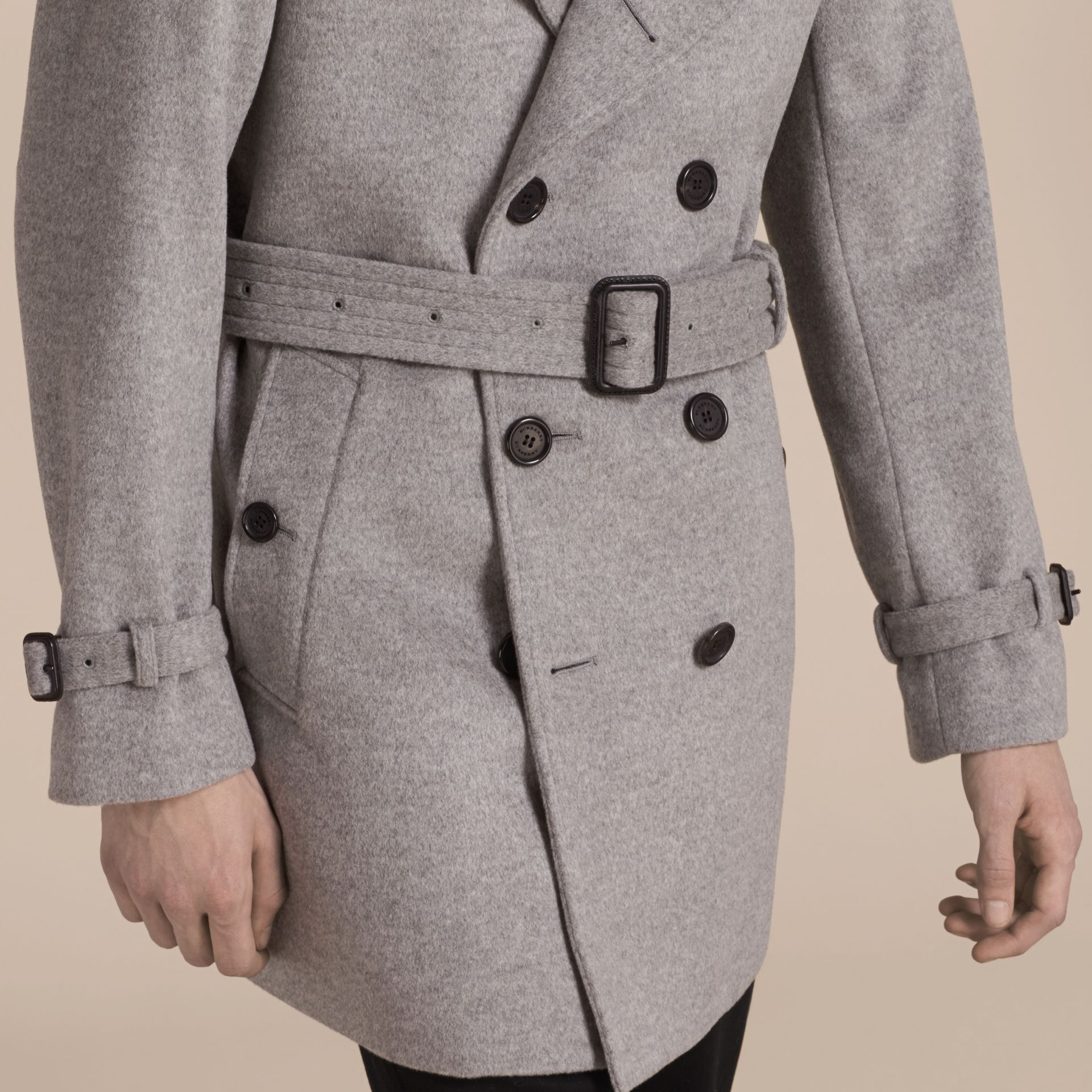 Pale grey melange Wool Cashmere Trench Coat Pale Grey Melange - gallery image 6