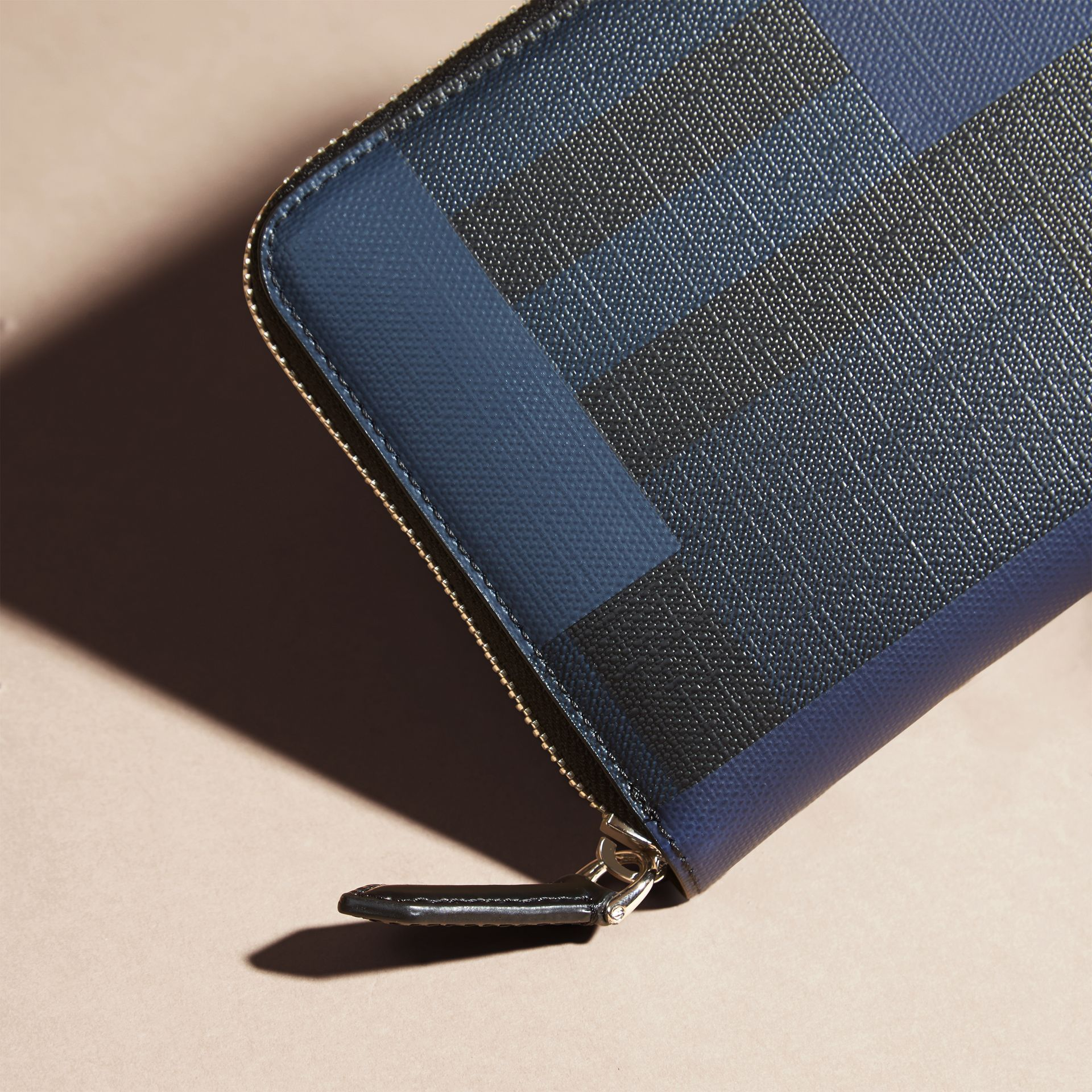 Navy/geometric Colour Block and London Check Ziparound Wallet - gallery image 2
