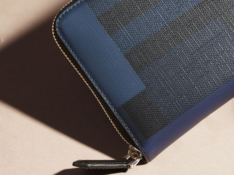 Navy/geometric Colour Block and London Check Ziparound Wallet - cell image 1
