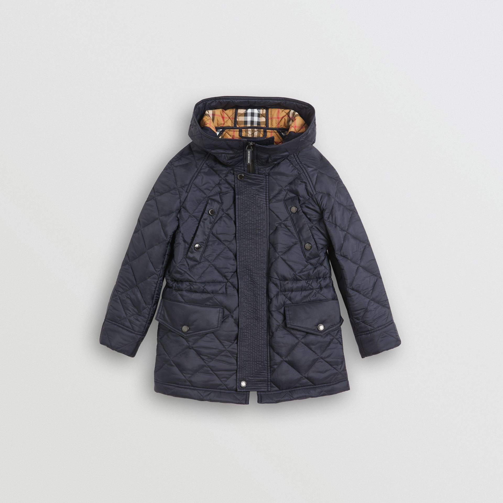Diamond Quilted Hooded Jacket in Navy | Burberry United Kingdom - gallery image 0